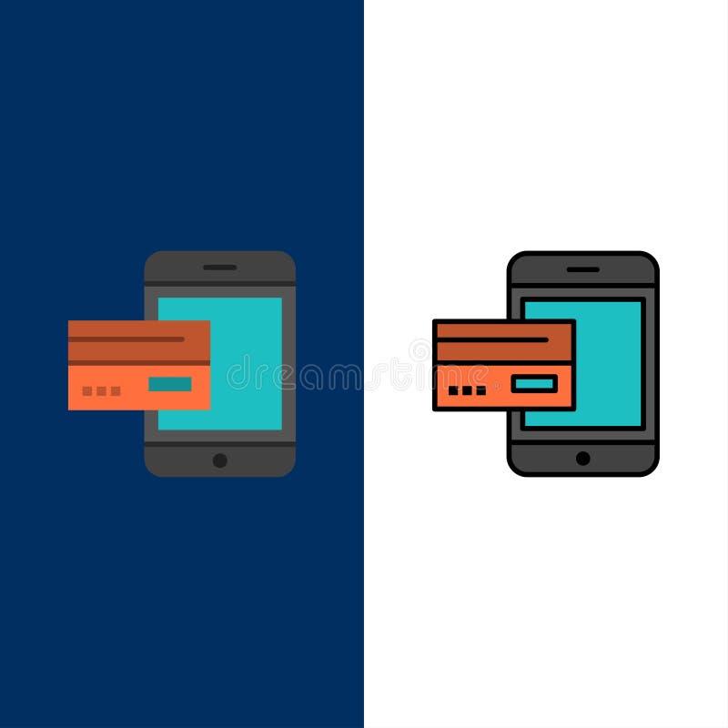 Betaling, Bank, Bankwezen, Kaart, Mobiel Krediet, Geld, Smartphone-Pictogrammen Vlak en Lijn vulde Pictogram Vastgestelde Vector  royalty-vrije illustratie