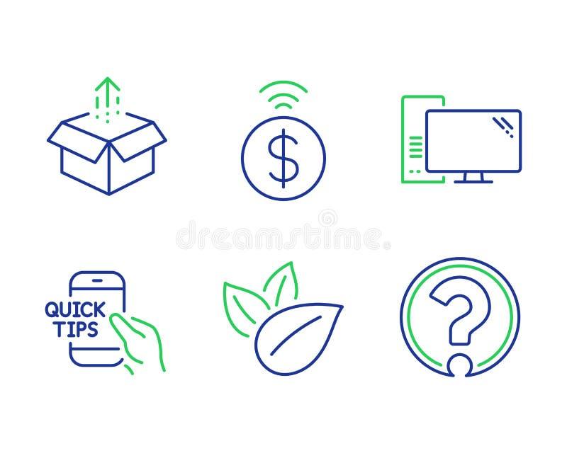 Betaling, Biologisch product en Computer geplaatste pictogrammen zonder contact Verzend doos, Onderwijs en Vraagtekentekens Vecto stock illustratie