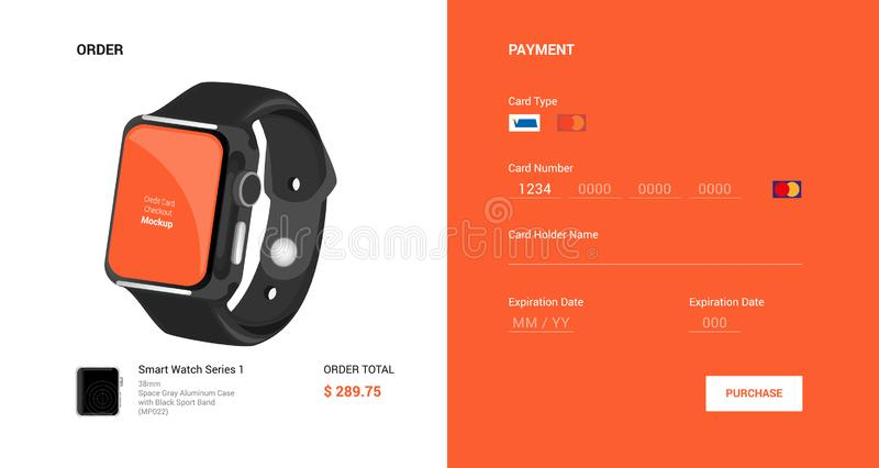 betaling controle Orde Zwart slim horloge Vector illustratie stock fotografie