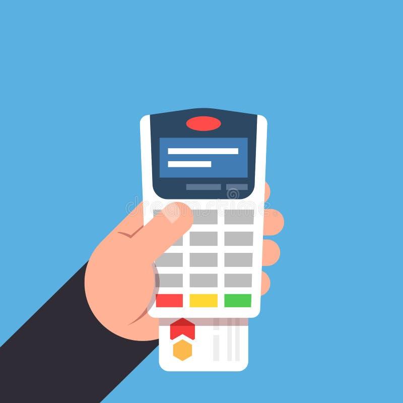 Betaling door betaalpas Betalingsterminal in de persoonshand Vlakke vectorillustratie vector illustratie