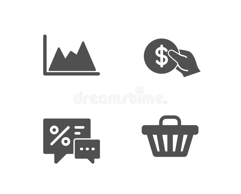 Betaling, Kortingen en Diagrampictogrammen Het teken van de winkelkar Usd muntstuk, Beste aanbieding, de Groeigrafiek Web het kop stock illustratie