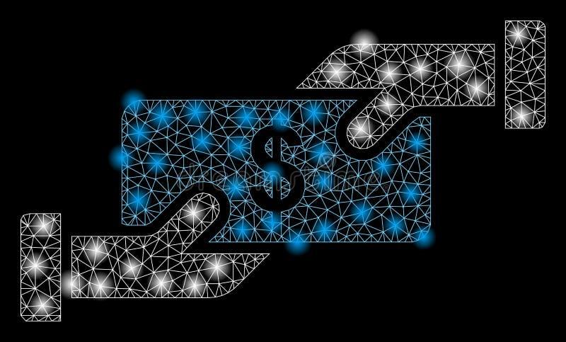 Betaling met contant geld met lichtspots op 2D-mager royalty-vrije illustratie