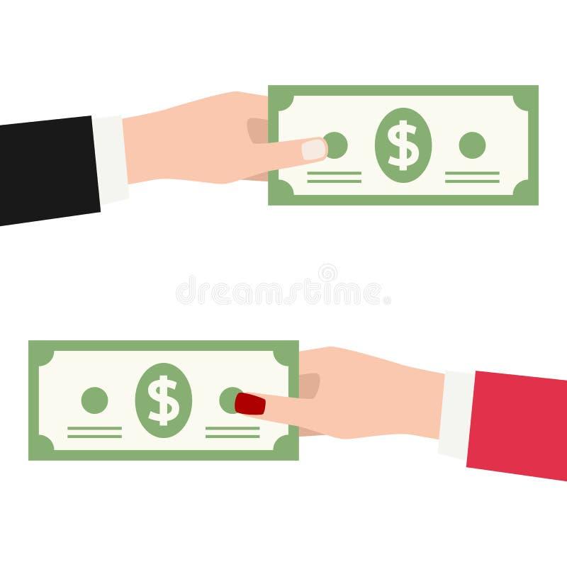 Betaling met Geïsoleerde Bankbiljet Vlak Pictogram vector illustratie