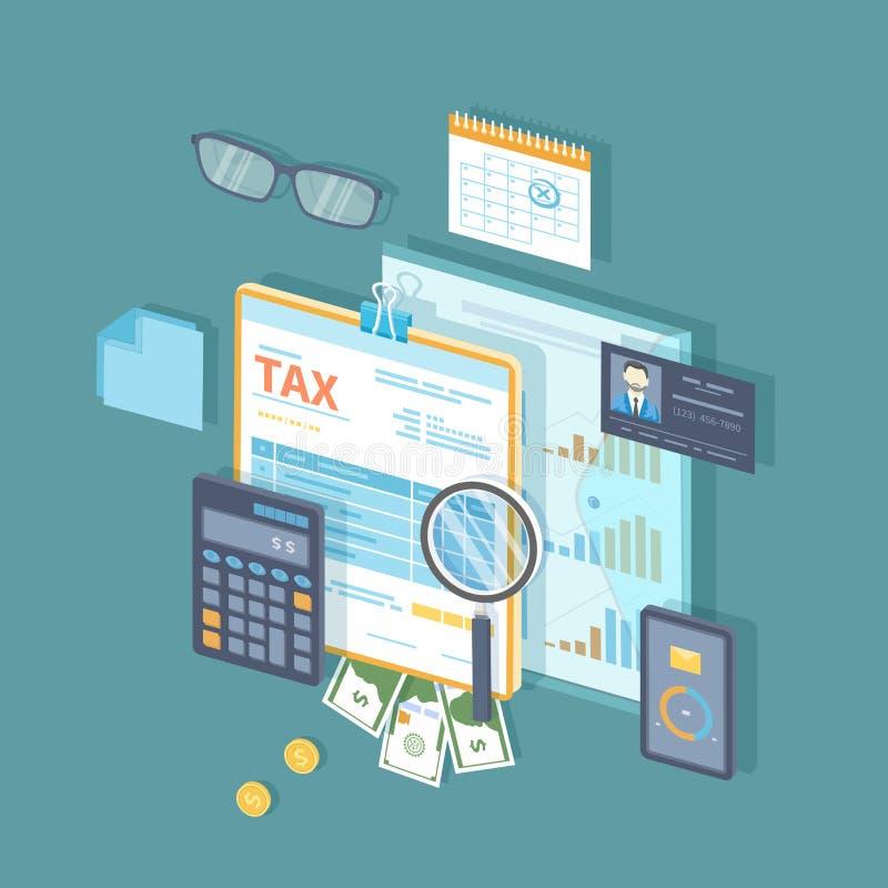 Betaling van belasting, rekeningen, rekeningenconcept Financiële kalender, geld, belastingsvorm op klembord, vergrootglas, calcul vector illustratie