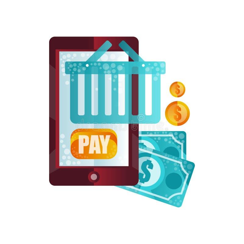 Betaling voor aankopen met online betaling via toepassing, online winkelend, de vlakke vectorillustratie van het elektronische ha royalty-vrije illustratie