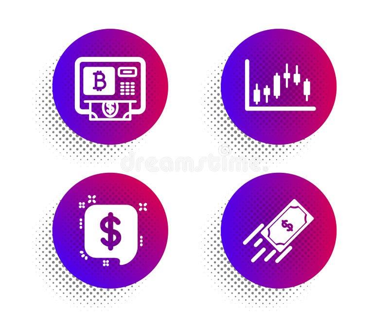 Betalingsbericht, candlestick-grafiek en Bitcoin-pictogrammen Snel betalingsteken Vector stock illustratie