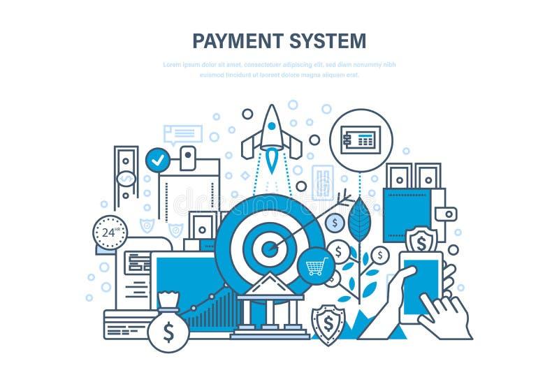 Betalingssysteem Methodes en vormen van betaling, veiligheid van financiën royalty-vrije illustratie