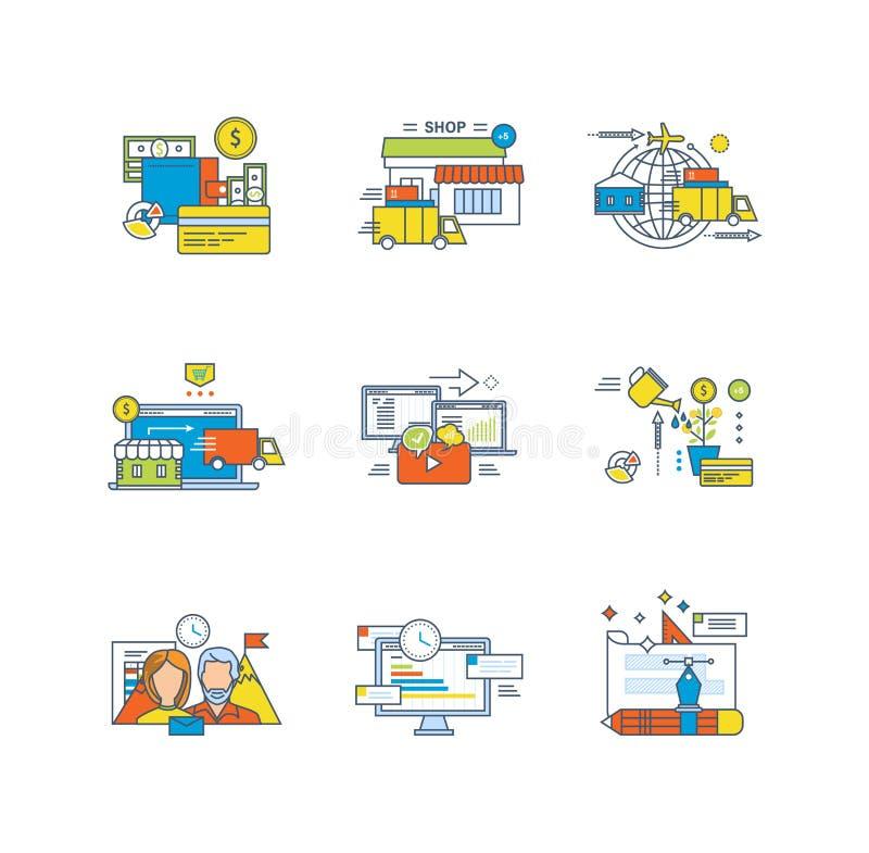 Betalingssystemen die, online, mededelingen, investering, financiën, groepswerk, beheer, ontwerp winkelen stock illustratie