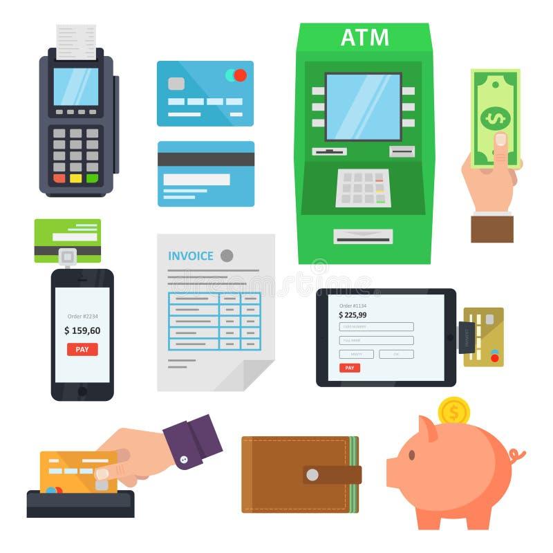 Betalning av service via terminaler och rengöringsdukservice vektor illustrationer