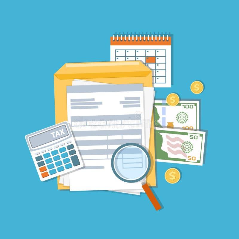 Betalning av skatt- och räkenskapbegreppet Finansiell kalender, räkningar Avlöningsdagsymbol royaltyfri illustrationer