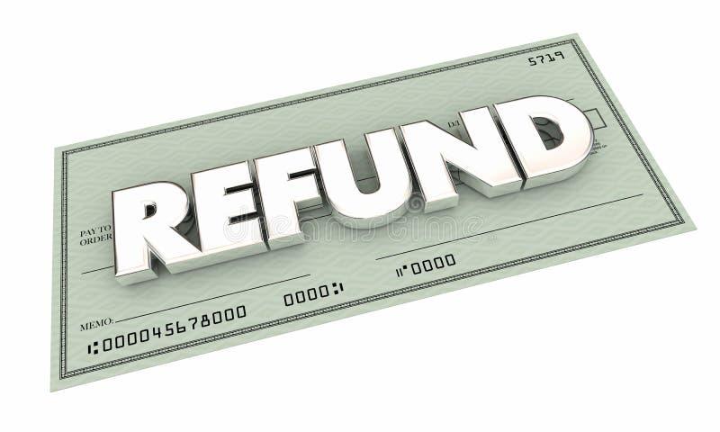 Betalning för pengar för rabatt för återbäringkontroll tillbaka royaltyfri illustrationer