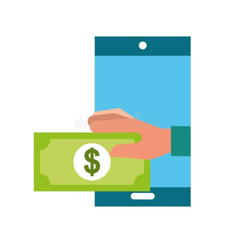 Betalning för sedel för handinnehavsmartphone som shoppar direktanslutet royaltyfri illustrationer