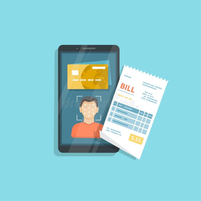 Betalning för varor och tjänst genom att använda framsidaerkännande och ID, framsidalegitimation på smartphonen Online-räkningbet vektor illustrationer