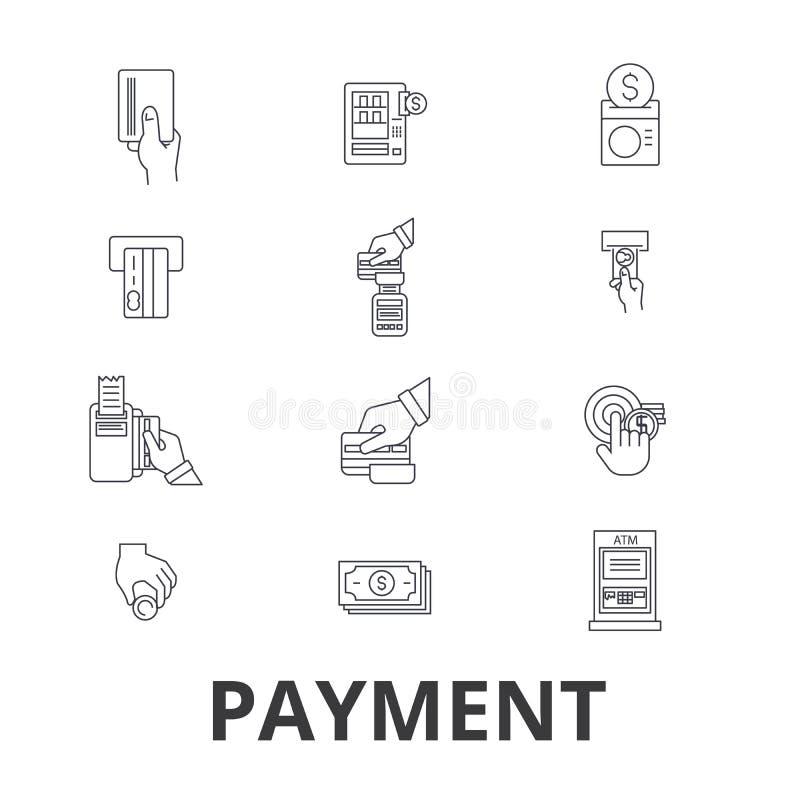 Betalning lön, pengar, kreditkorten, online-räkningen, lön, shoppar, fakturerar linjen symboler Redigerbara slaglängder Plan desi royaltyfri illustrationer