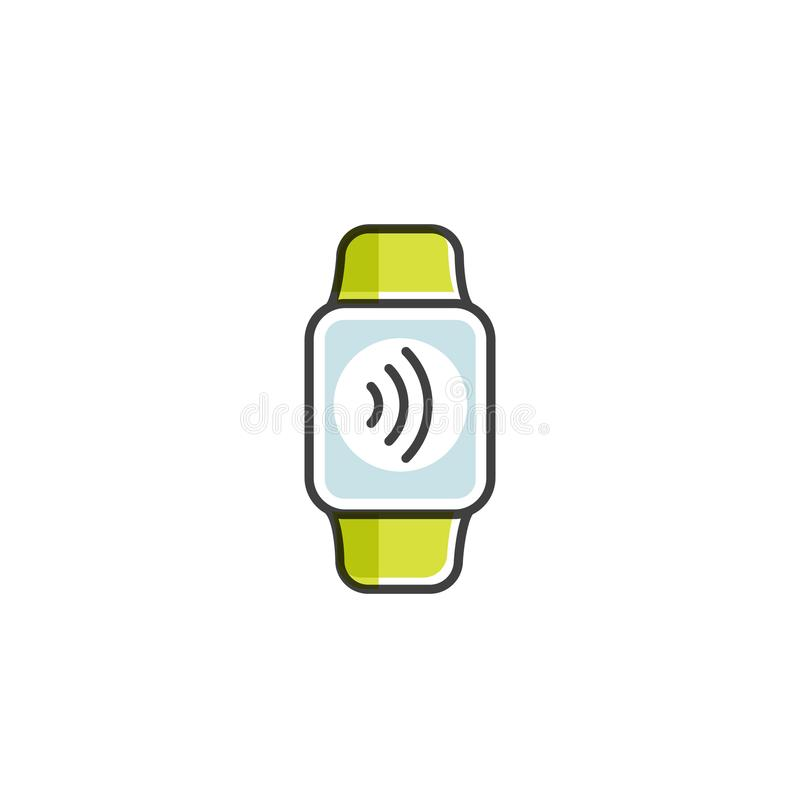 Betalning som göras till och med klockan NFC-betalningar i en plan stil Lön eller framställning av ett köp contactless eller tråd royaltyfri illustrationer