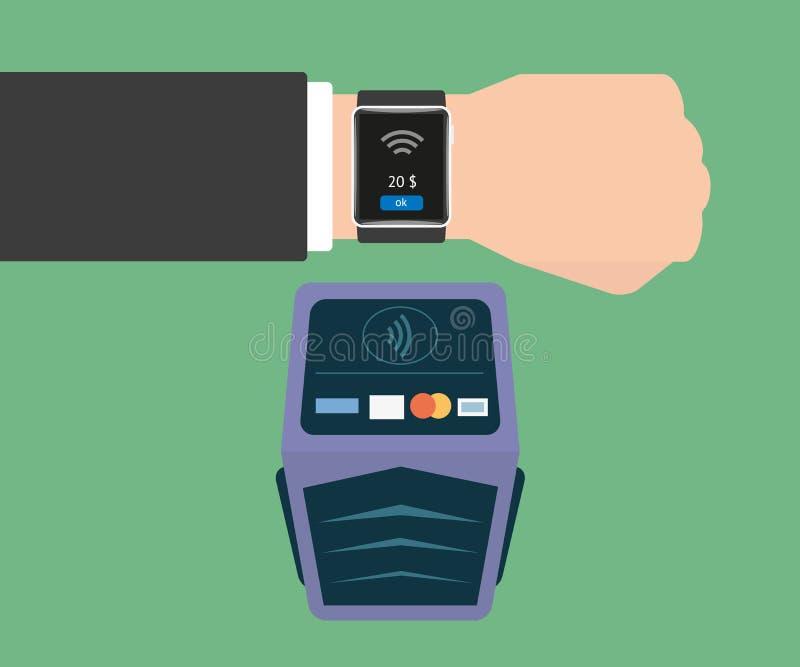 Betalning via det smarta armbandsuret vektor illustrationer