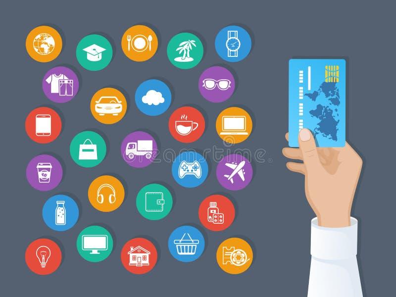Betalning vid kreditkorten System av cashless betalningar för service och gods Handen rymmer en kreditkort och en uppsättning av  vektor illustrationer