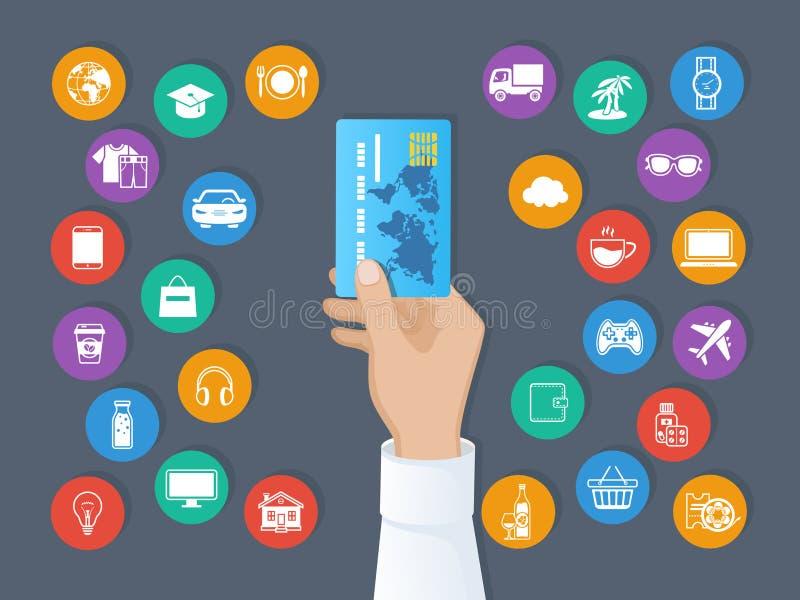 Betalning vid kreditkorten System av cashless betalningar Handen rymmer en kreditkort och en uppsättning av service och godssymbo vektor illustrationer