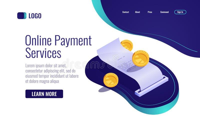 Betalningbegrepp, pappers- isometrisk kvittoonline-bankrörelsesymbol, lönelista med myntpengarvektorn vektor illustrationer