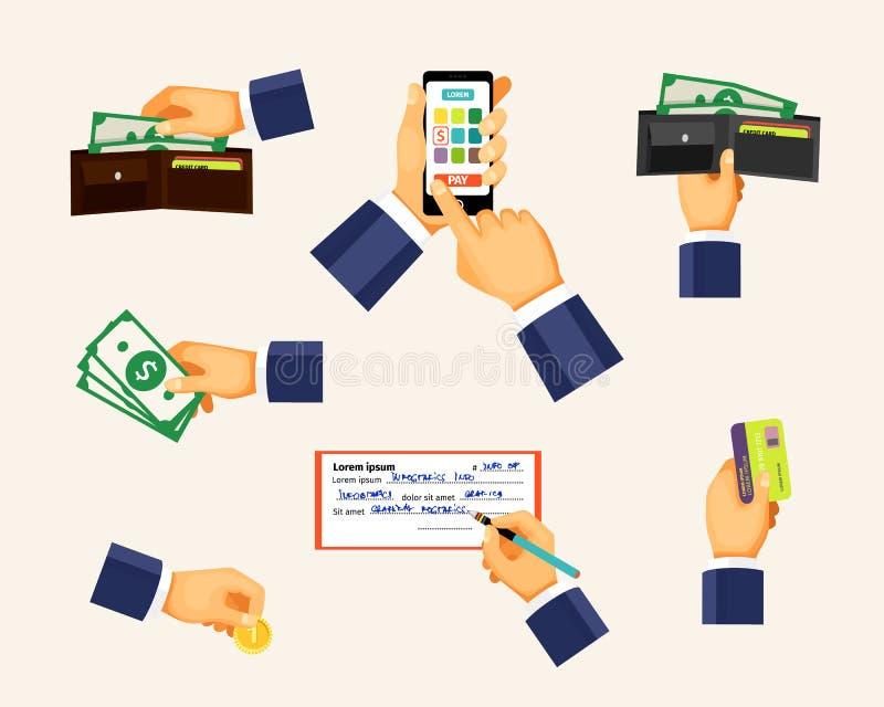 Betalningsymboler i en plan stil Händer som rymmer myntet vektor illustrationer