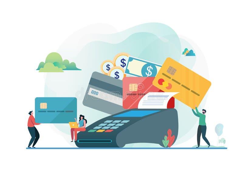 Betalt av kreditkorten linje shopping Folk och kreditkortmaskin Design för tecken för plan vektorillustration modern royaltyfri illustrationer