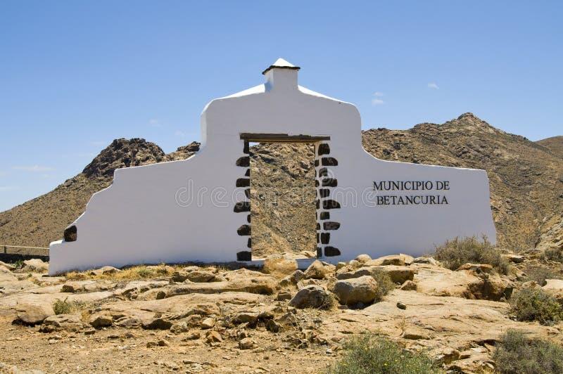 betancuria加那利群岛签署城镇 免版税库存图片