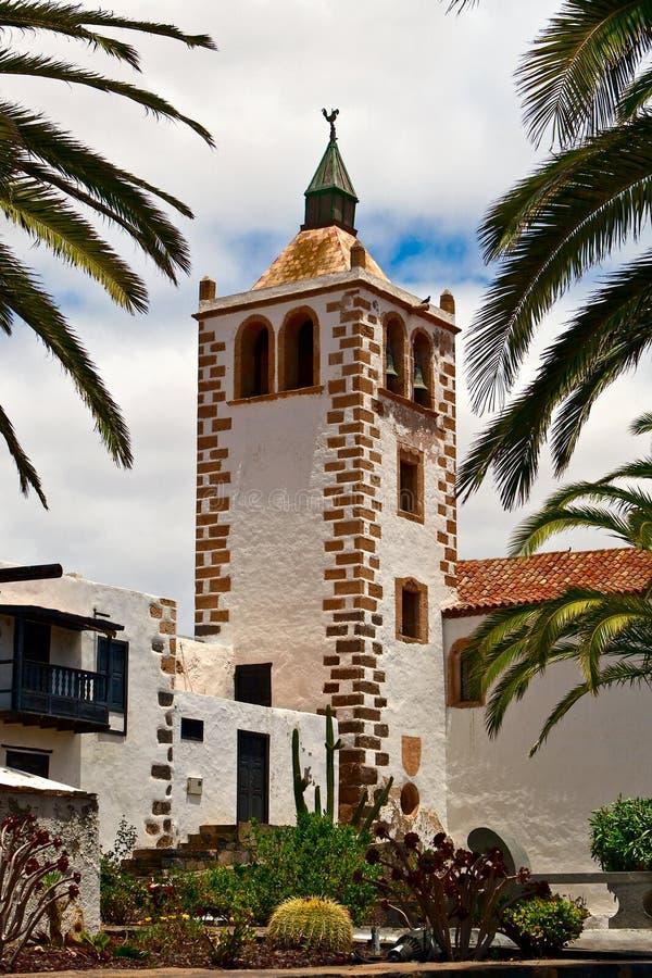 Betancuria-Kirchturm, Fuerteventura. stockfotografie