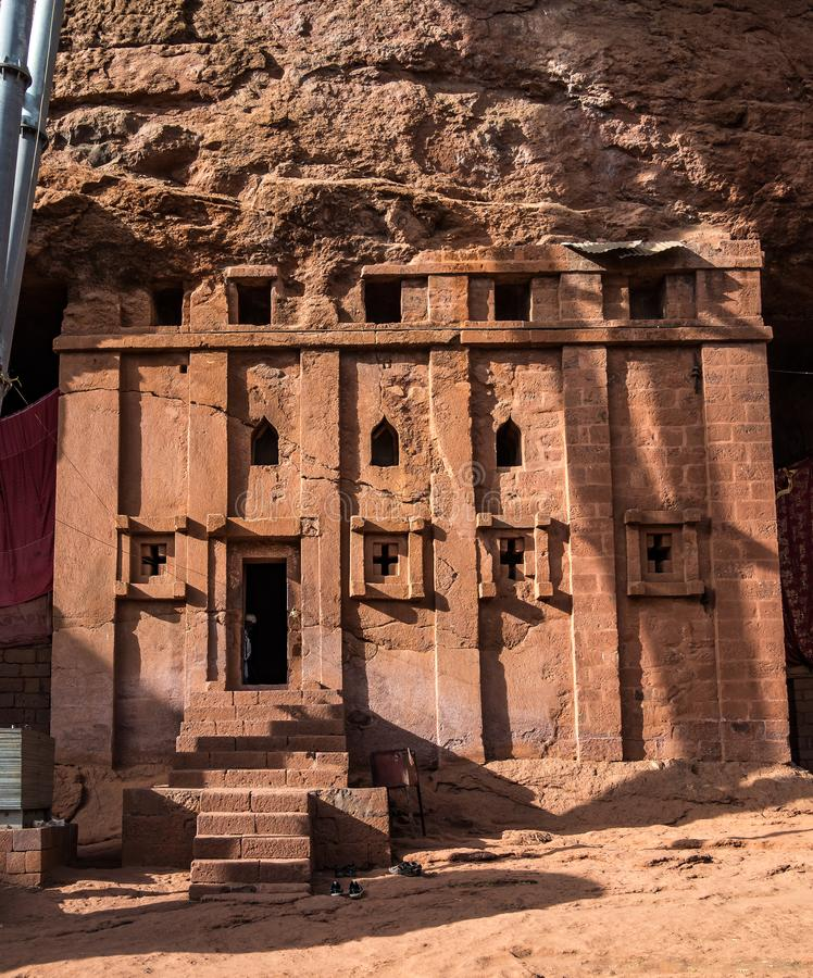 Bete Abba Libanos ciosaj?cy ko?ci??, Lalibela, Etiopia zdjęcia stock