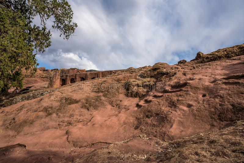Bete Abba Libanos rock-hewn church, Lalibela, Ethiopia. Africa stock images