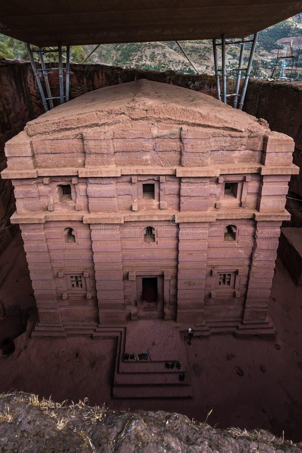 Bete Amanuel, igreja monolitic em Lalibela, Eti?pia foto de stock royalty free