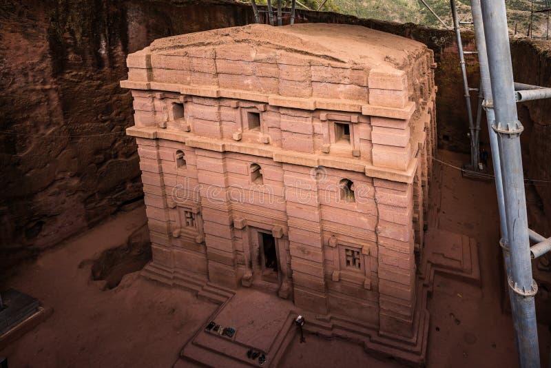 Bete Amanuel monolitic kyrka i Lalibela, Etiopien arkivfoto