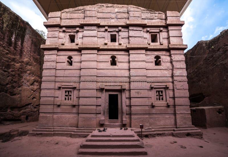 Bete Amanuel monolitic kyrka i Lalibela, Etiopien royaltyfri fotografi