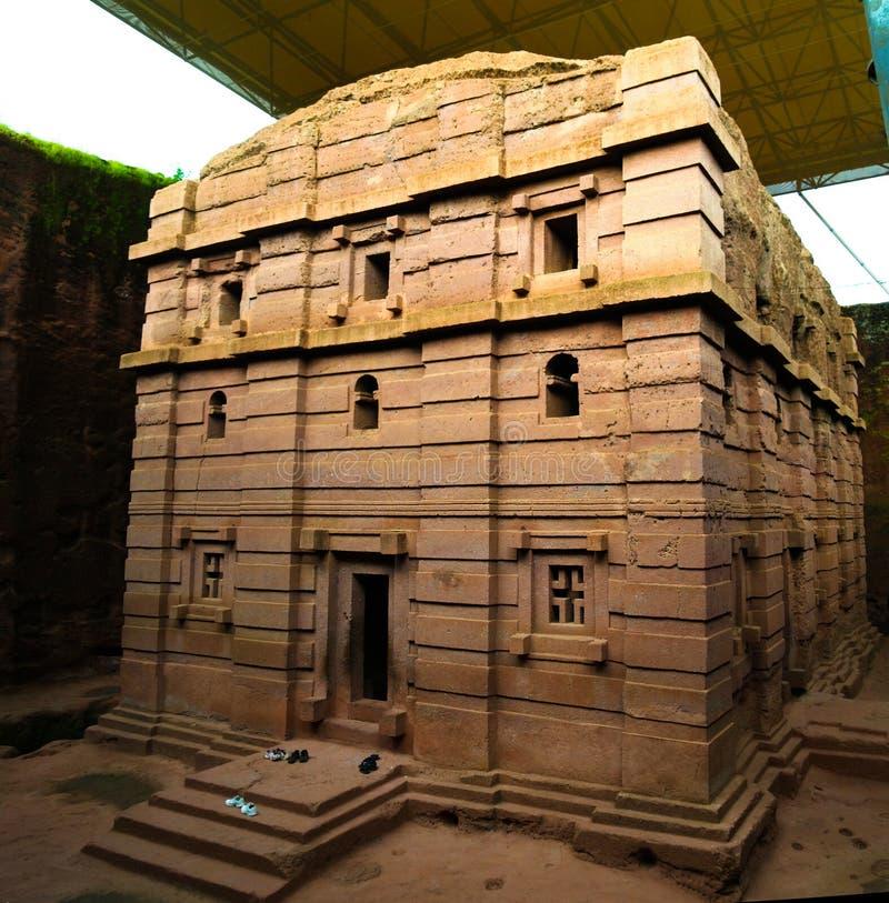 Bete Amanuel vagga-huggen ut kyrka, Lalibela, Etiopien royaltyfri foto