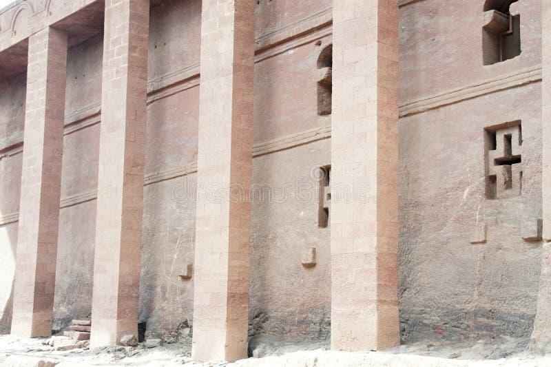 Bete Medhane Alem - monolithic rock-cut church in Lalibela. Ethiopia royalty free stock image