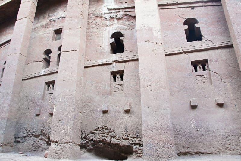 Bete Medhane Alem-monolitisk vagga-snitt kyrka i Lalibela arkivbilder
