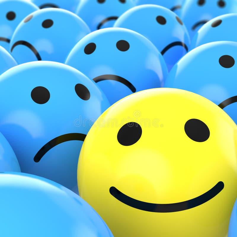 beteen upp den täta lyckliga SAD smileyen royaltyfri illustrationer