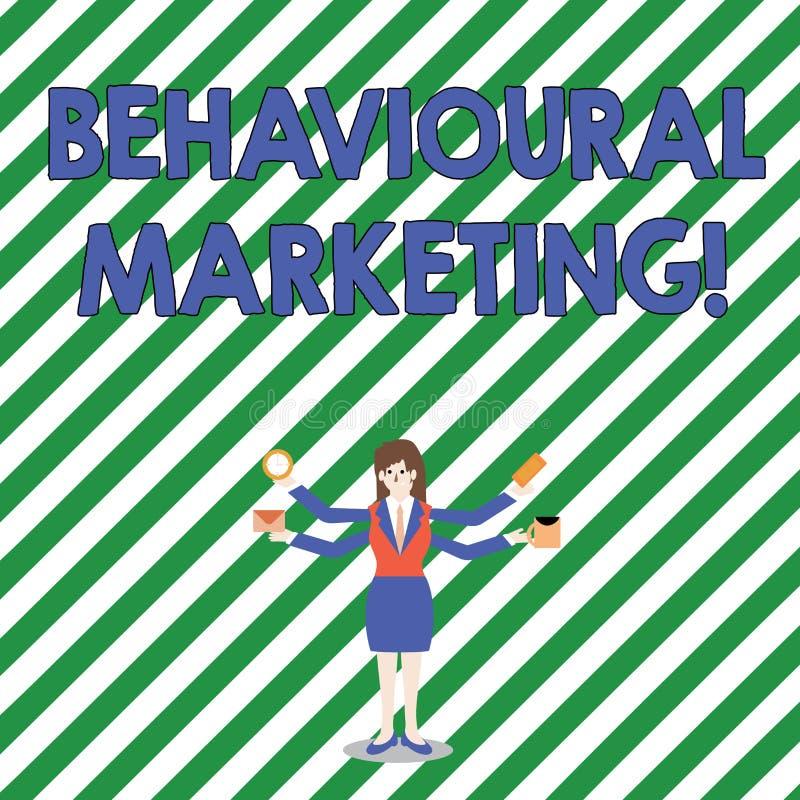 Beteende- marknadsföring för handskrifttext Begreppsbetydelsen uppsätta som mål konsumenter som baseras på deras uppförande vektor illustrationer