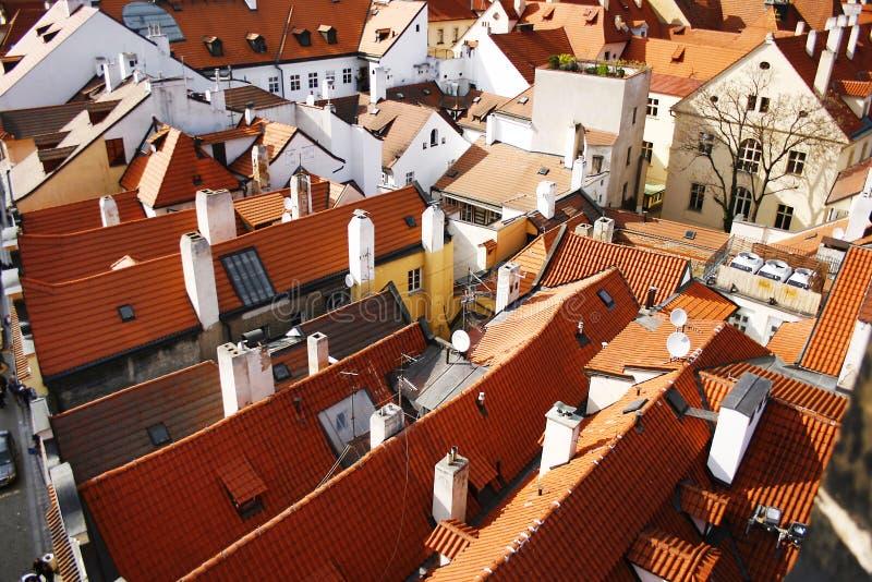 Betegelde daken in Praag, Tsjechische Republiek royalty-vrije stock afbeelding