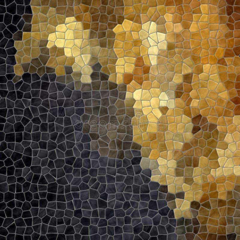Betegelt het aard marmeren plastic steenachtige mozaïek textuur achtergrondverstand grijze pleister - zwarte en gouden kleurengra royalty-vrije illustratie