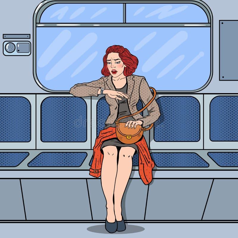 Beteiligte Geschäftsfrau, die spät in Metro bei der Arbeit reist Pop-Arten-Illustration lizenzfreie abbildung