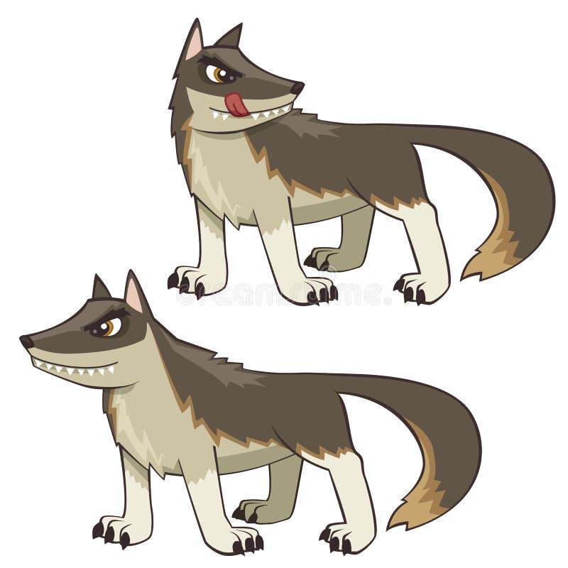 Beteken het Beeldverhaal Wolf Illustration in twee geïsoleerd op wit stelt vector illustratie