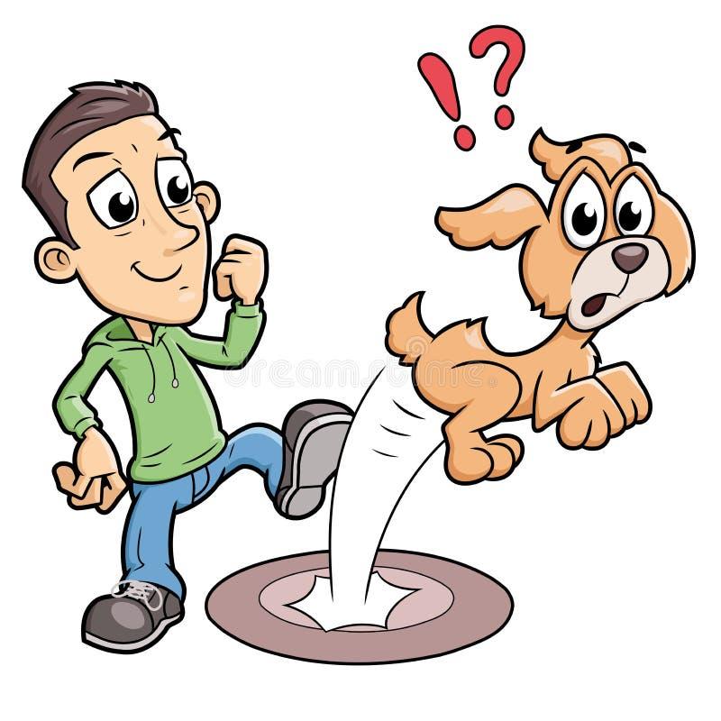 Beteken jongen die een hond schoppen royalty-vrije illustratie