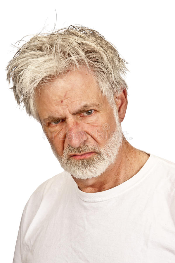 Beteken, Knorrige Oude mens met Verachtelijke Uitdrukking royalty-vrije stock foto's