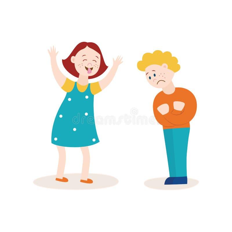 Beteken meisje die en droevige jongen intimideren taunting vector illustratie