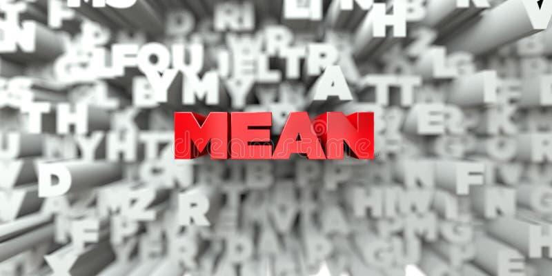 BETEKEN - Rode tekst op typografieachtergrond - 3D teruggegeven royalty vrij voorraadbeeld royalty-vrije illustratie