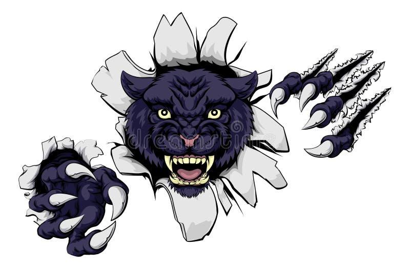 Beteken Zwarte Pantermascotte royalty-vrije illustratie