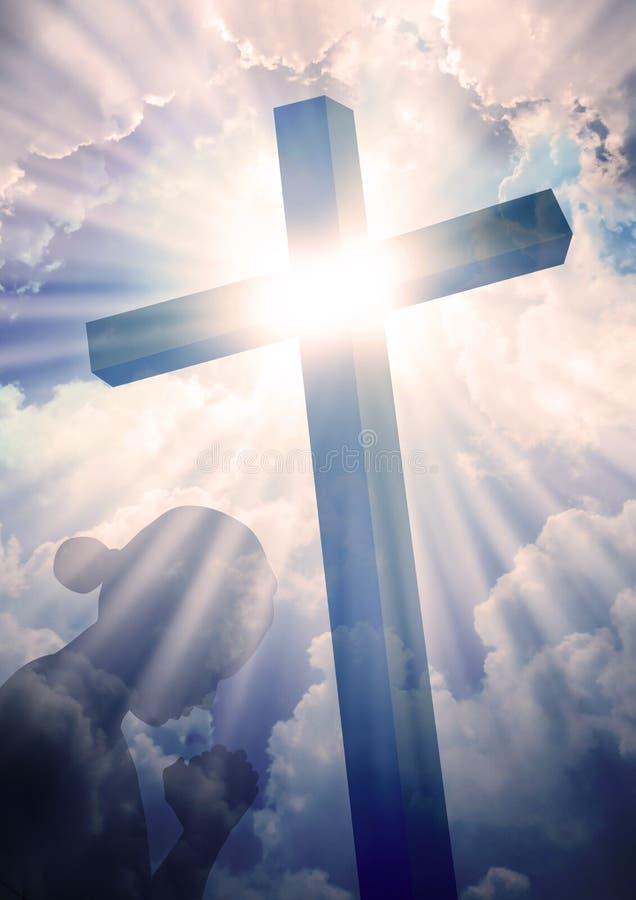 Beten am Kreuz stockfotos