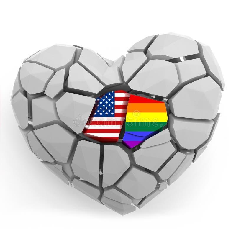 Beten Sie für Orlando-Konzept, das defekte Herz, das auf Weiß lokalisiert wird 3d übertragen Abbildung vektor abbildung