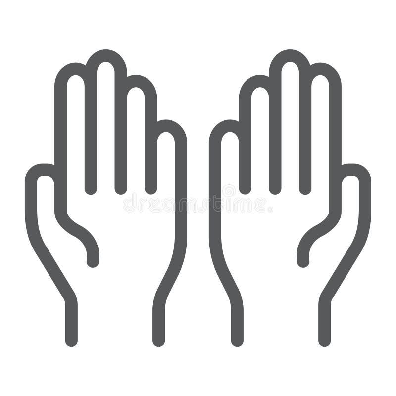 Beten Sie Linie Ikone, Glaube und Religion, Hände unterzeichnen, Vektorgrafik, ein lineares Muster auf einem weißen Hintergrund vektor abbildung