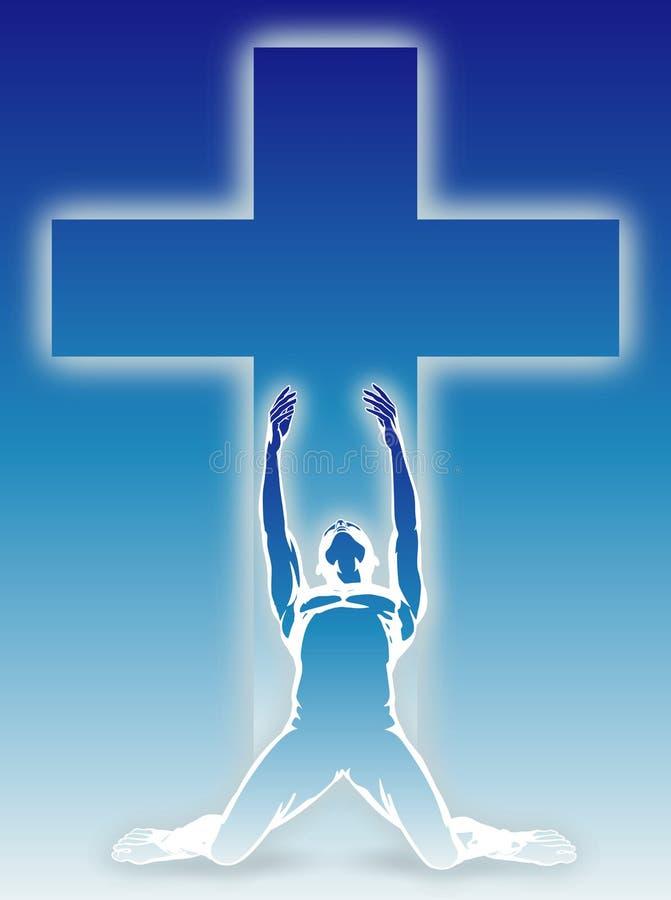 Beten unter einem Kreuz stock abbildung
